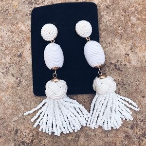 Jewelry - White Beaded Tassel Earrings